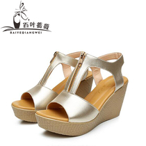 In summer 2017 new muffin female thick-soled leather Sandals wedges heels platform size fish head womens slippers