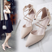 In the spring of 2017 new Korean fashion shoes all-match pointed cross belt cat with fine with high-heeled shoes in summer
