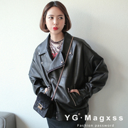 2017 spring new Korean female jacket Pu loose leather jacket with all-match cashmere thickened Motorcycle Jacket