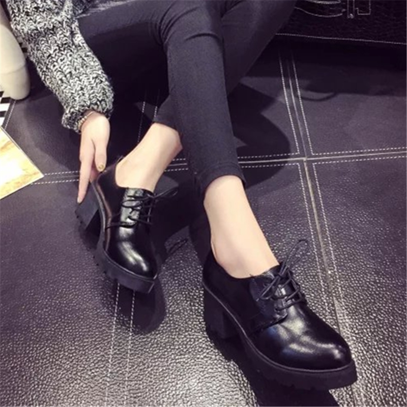 Single women's shoes shoes spring han edition 2017 new leather shoes with British the wind in the spring and autumn shoes thick with Europe and the United States in the spring of restoring ancient ways