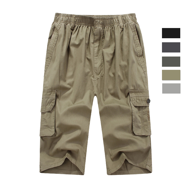 The summer middle-aged seven Pants XL beach pants men elastic big pants loose straight fat pants shorts