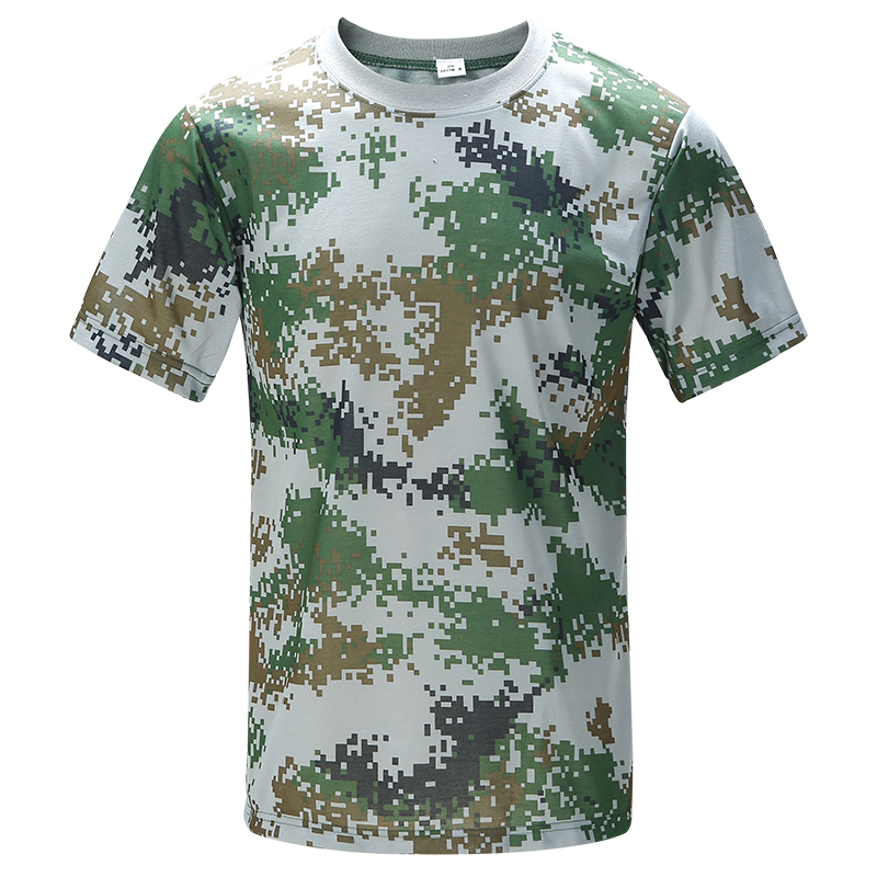 Military training, camouflage clothing, camouflage T-shirts, military fans, short sleeve, short sleeve, short sleeved military training, short sleeve, Woodland Camouflage short sleeve