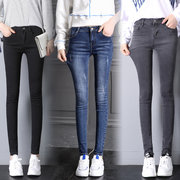 High waisted jeans female trousers in the autumn of 2017 new Korean slim slim stretch size feet pencil pants tide