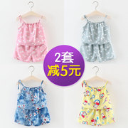 Baby girl summer summer shorts vest bourette suspender set two sets of girls 0-1-3 years old baby clothes.