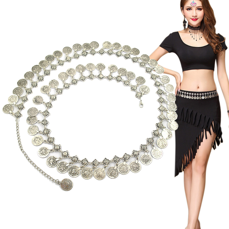 Europe and the United States of Bohemia Soviet romantic retro metal coins coins Yaolian Belly Dance Latin Dance Body chain belt