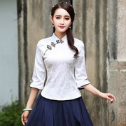 In the Chinese women's short sleeve dress shirt costume Hanfu autumn new Chinese tea clothing, modified elements