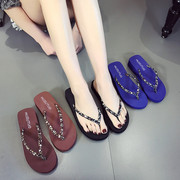 Flip flops female Xia 2017 new fashion Korean version, slip, simple, foot slippers, thick bottom slope, with outer slippers