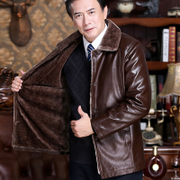 Elderly people with large leather cashmere thickened code father put winter men middle-aged man leather jacket in winter coat