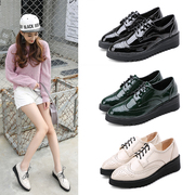The spring and autumn 2017 thick soled platform shoes female British wind Bullock small leather shoes, shoes, shoes with slope