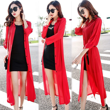 Sun protection clothing female summer Korean version of the long section of chiffon cardigan shawl thin jacket long-sleeved large size beach sun protection clothing summer
