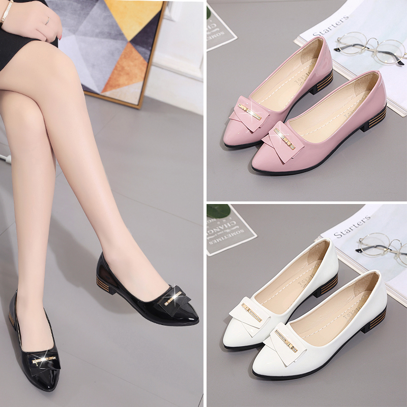 2017, spring and autumn, shallow, single Korean shoes, low heel, pointed flat mother shoes, comfortable work shoes, women's low shoes tide