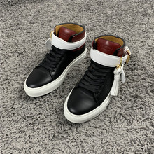 Domestic spot Buscemi autumn new color matching lock head padlock temperament women's high top shoes casual shoes