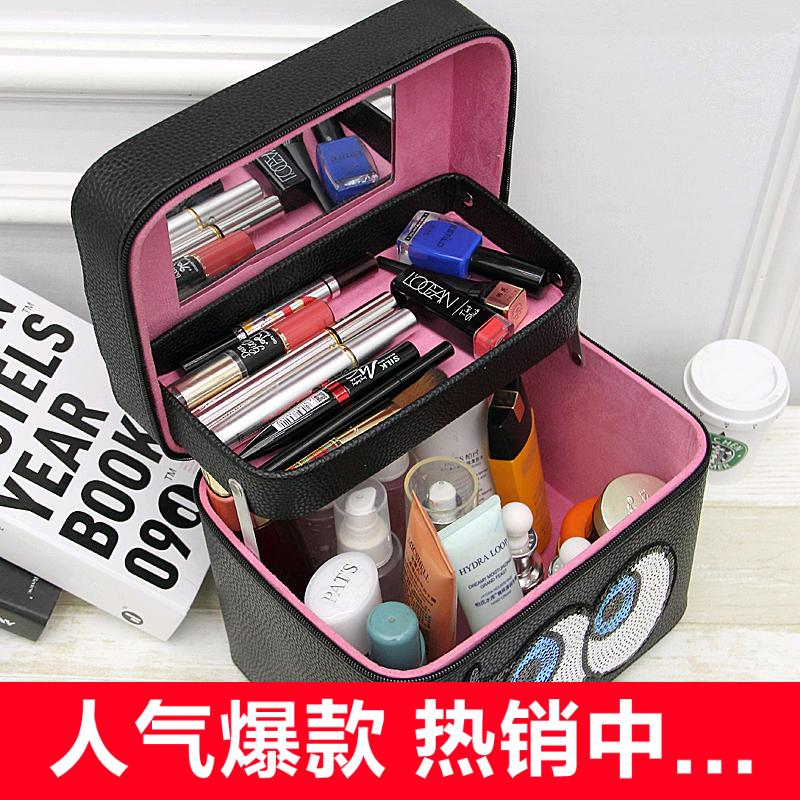 化妆包韩国大眼睛手提化妆箱 大容量高档护肤品收纳包 专业洗漱包