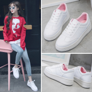 White shoe shoes with thick white cashmere all-match Korean 2017 canvas shoes shoes students winter new board shoes