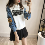 The spring and autumn sweater thin female hooded head loose set of Korean students in the long letter tide stitching jeans sweater