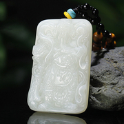 Natural white jade pendant Guan Yunchang brand pendant pendant Fortuna Wu Guan Erye carved pieces send beautiful Lanyard