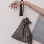 PDS independent design CHIC simple metal sense of the makeup bag BLING drawstring tassel female bag round hand bag