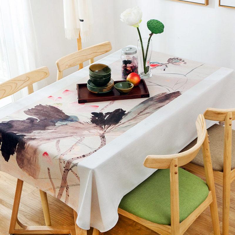 新中式桌布棉麻茶几复古中国风水墨荷花布艺长方形台布古典餐桌布