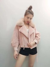 2017 new winter fox fur fashion show thin long sleeved loose fluffy coat female motorcycle jacket