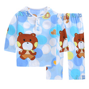 The summer children's sleepwear cotton silk clothing Home Furnishing male virgin's summer baby thin child bourette long sleeved suit