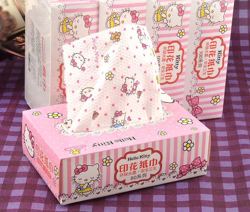 4 boxed shipping love Kt cat creative pumping paper towel carton printing paper napkins fragrance free