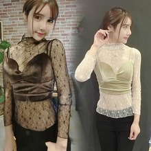 Korean version of the new 2017 winter fashion sexy lace shirt + velvet straps perspective two piece suit jacket