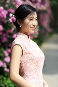 2016 pink lace water soluble flower retro Chinese dress dress wedding bridesmaid birthday party