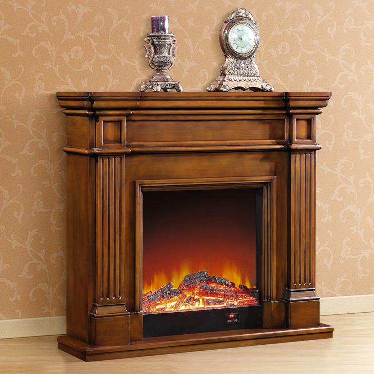 简约美式壁炉 实木欧式壁炉架 深色装饰取暖炉芯1.2/1.5米电壁炉