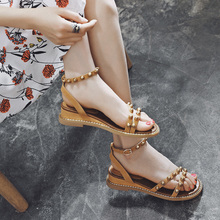Little Red 2018 new sandals female Xia Pingdi taste retro chic sandals with Rome word buckle women's shoes
