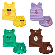 1-2-3-4 year old boy baby infant suit briefs + sleeveless vest suit for girls in summer.