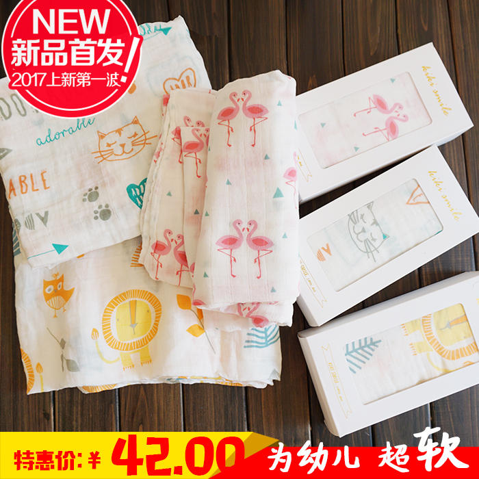 Foreign trade soft waxy bamboo cotton, muslin gauze towel, newborn wrapped bath, universal muslin gauze towel