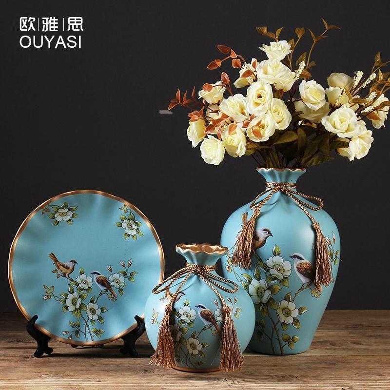 美式复古陶瓷花瓶盘子欧式客厅玄关酒柜装饰品摆件现代创意花插