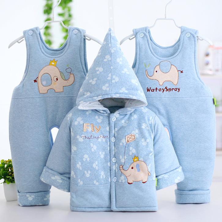 婴儿棉衣套装加厚冬季宝宝棉袄衣服三件套背带裤带帽子0-6-12个月