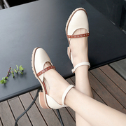 2017 new all-match spring shoes female Korean students shoes with coarse women shoe buckle shoes Asakuchi one summer