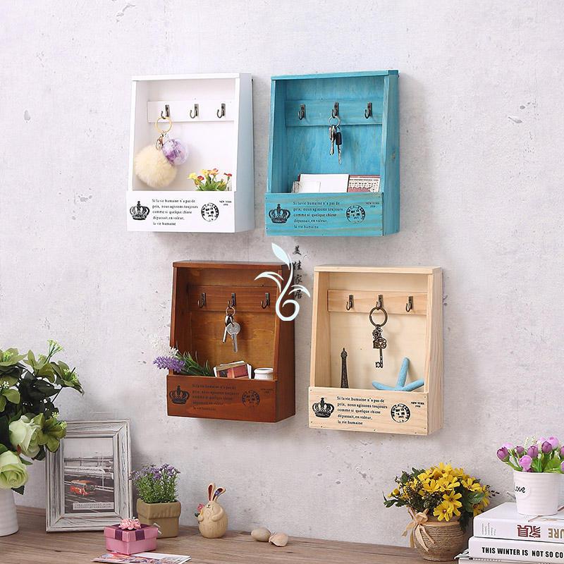 木质玄关创意壁挂钥匙盒家门口钥匙收纳盒家居饰品墙面装饰架挂钩