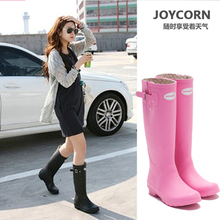 Joy Corn European and American style British spring and summer rain boots female adult high boots rubber rain boots fashion waterproof rubber boots