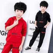 Children's cool sports suit boys hooded jacket head sweater trousers two sets red black blue 2017 autumn paragraph