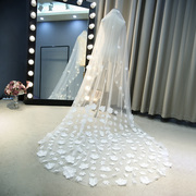 Fairy bride wedding veil wedding veil new Korean 3 meters long flower petal tail 099
