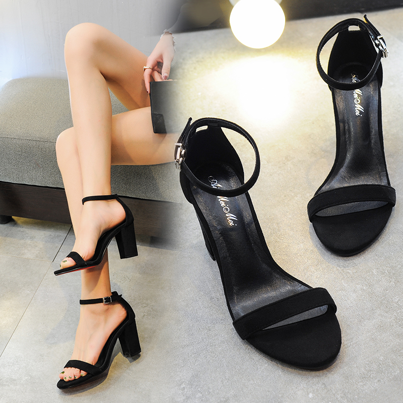 2017 summer star designer shoes with a word buckle heels thick with female one word with black suede sandals