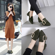 In the spring of 2017 new spring shoes all-match Korean students in the winter of 2016 with thick with pointed high-heeled shoes