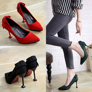 BOW HEELS female summer 2017 new fine pointed shoes with shallow mouth thin heels cat foot set shoes