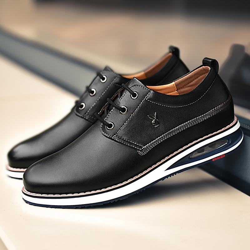 花花公子男士内增高皮鞋6cm结婚鞋真皮增高鞋男真皮休闲鞋英伦男