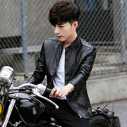 2017 new men's leather jacket with cashmere sportswear Korean slim handsome locomotive PU youth leather jacket