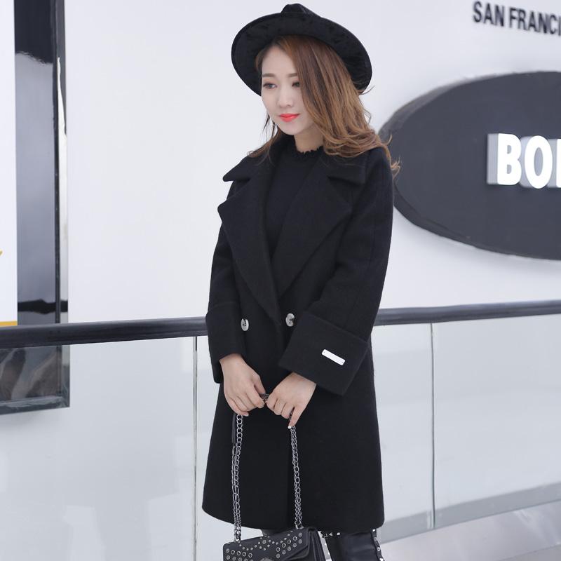 毛呢外套女中长款韩国2017秋冬季新款韩版显瘦加厚收腰呢子大衣