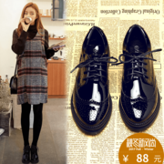 Female leather shoes with flat shoes black ladies shoes leather strap shoes shoes Bullock British students