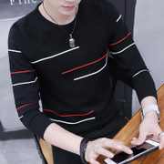 Spring and autumn Crewneck Pullover menswear trend of Korean men's long sleeved T-shirt knitted shirt thin