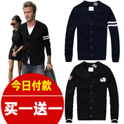 In the fall of V code CARDIGAN SWEATER MENS m thick collar slim thin casual coat tide in autumn and winter
