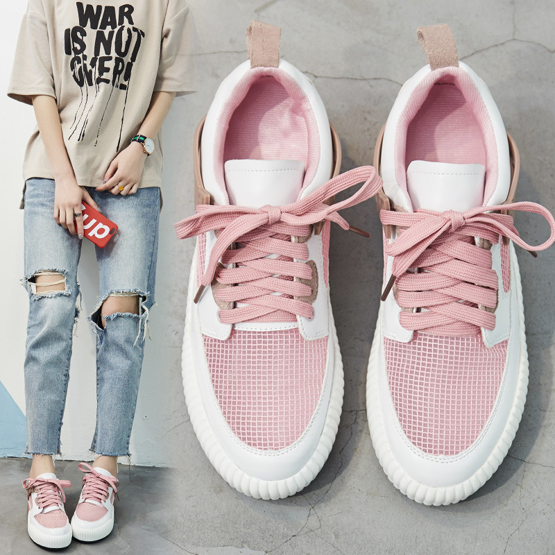 2017 Summer new network sports shoes female Korean version of Leisure shoe hundred women's shoes increase students ' small white shoes