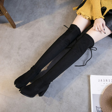 Over the knee boots female thin elastic cloth high-heeled boots high boots with thick boots boots boots single spring 5050
