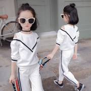 My princess Kids Girls autumn 2017 long sleeved suit children stripe casual children new two piece